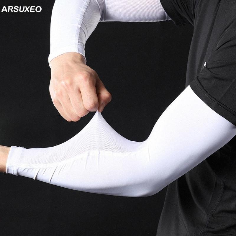 ARSUXEO 2020 Ice Шелковый Arm рукава Охлаждение ВС Защита от ультрафиолетовых лучей Running Рыбалка Велоспорт грелка рукоятки Баскетбол крышки Compression Xjvn #