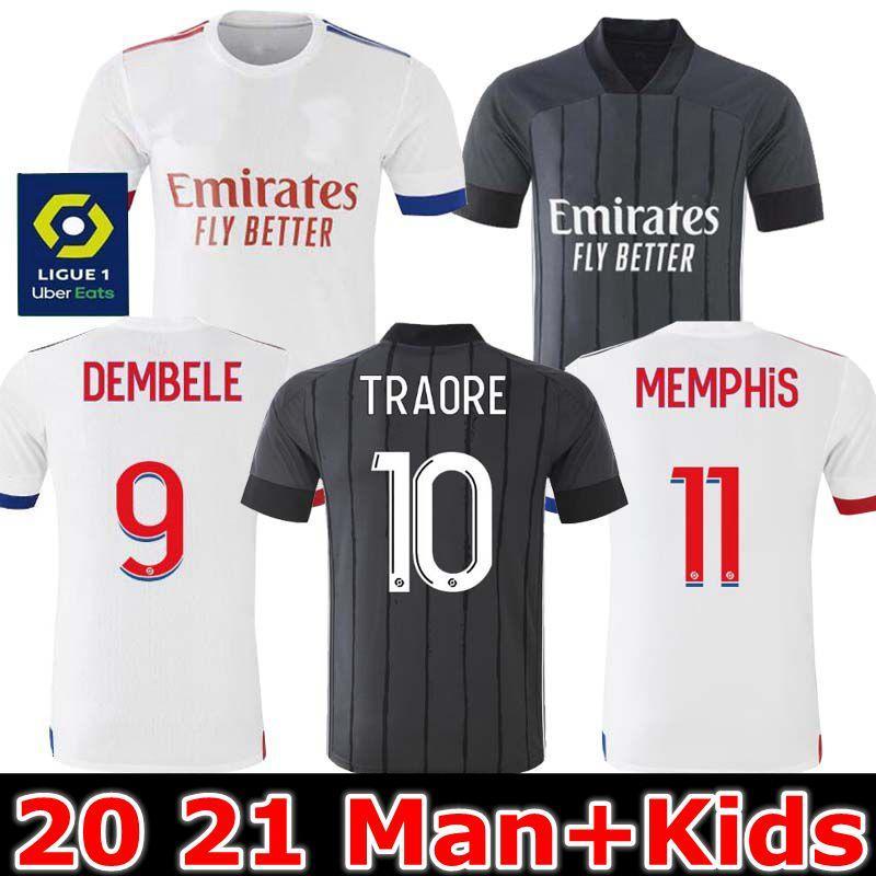 20 21 مايوه دي القدم اولمبيك ليون ليون لكرة القدم جيرسي 2020 2021 مايوه دي ليون قميص كرة القدم تراوري ممفيس OL قمصان الرجال ليون للأطفال