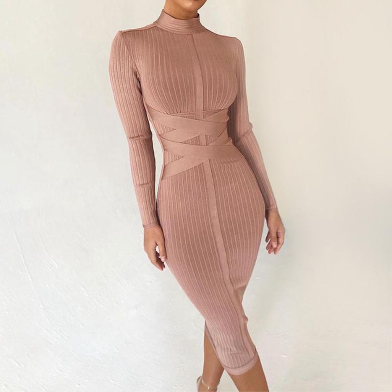 Casual Dresses Seamyla Sommer Bodycon Verband 2021 Langarm Sexy Midi Kleid Frauen Club Celebrity Party Vestidos