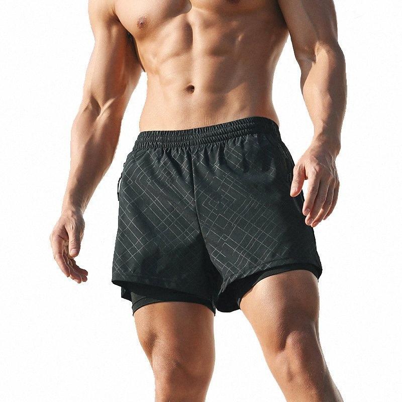 2020 2020 Summer Course à Pied Shorts Hommes 2 en 1 Sports Jogging Fitness Shorts Formation rapide Hommes sec Sport Gym pantalons courts PMEC #
