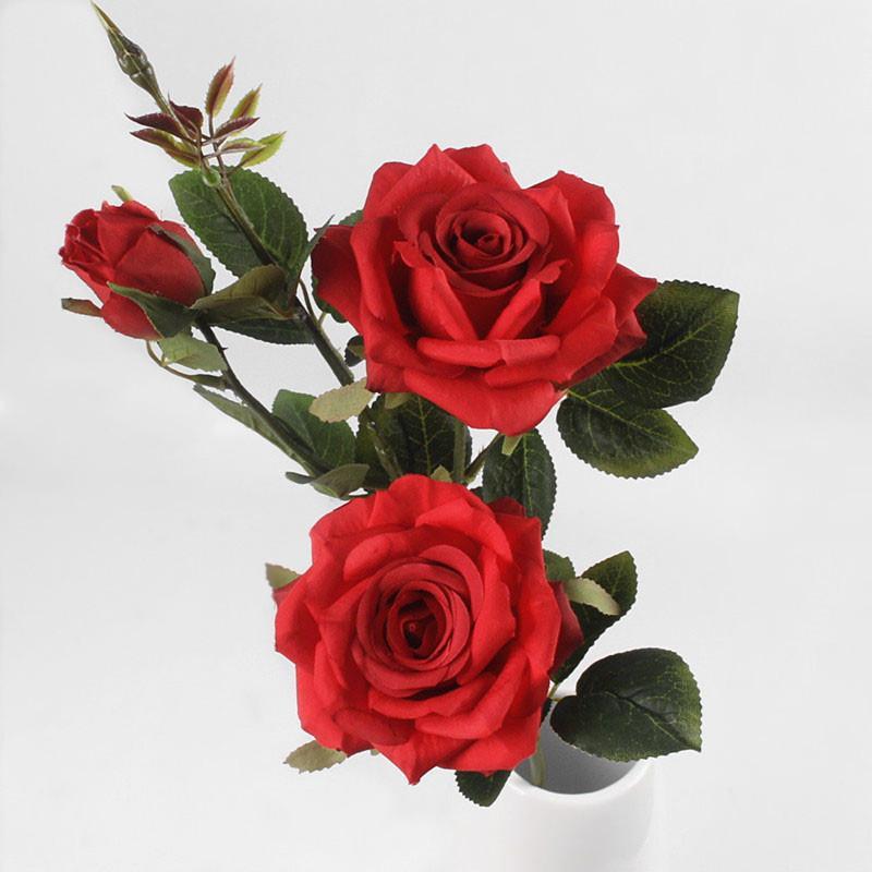5pcs artificiales 3 cabezas de Plantas de París Rosas Flores artificiales decorativas flores de seda para la boda del partido de la decoración del hogar Centros de mesa