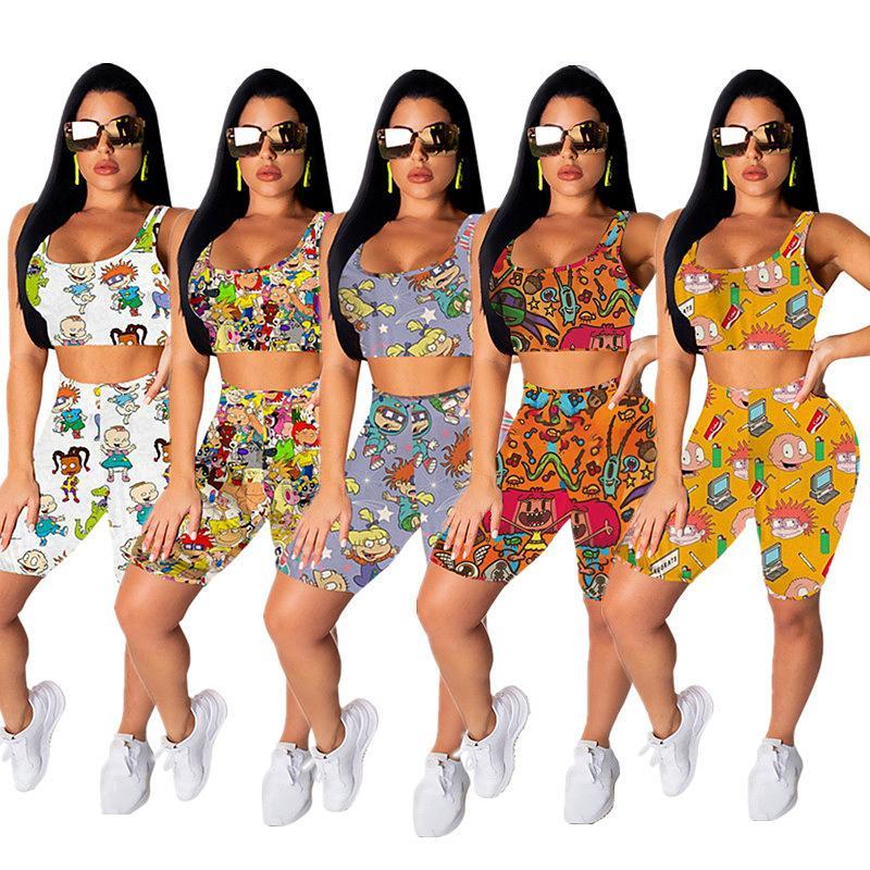 Drucken Cartoon Frauen Shorts Anzug-Sommer-Sleeveless T-Shirt Tops + Shorts Zweiteiler Fashion Outfits Jogger Sportanzug 5 Farbe