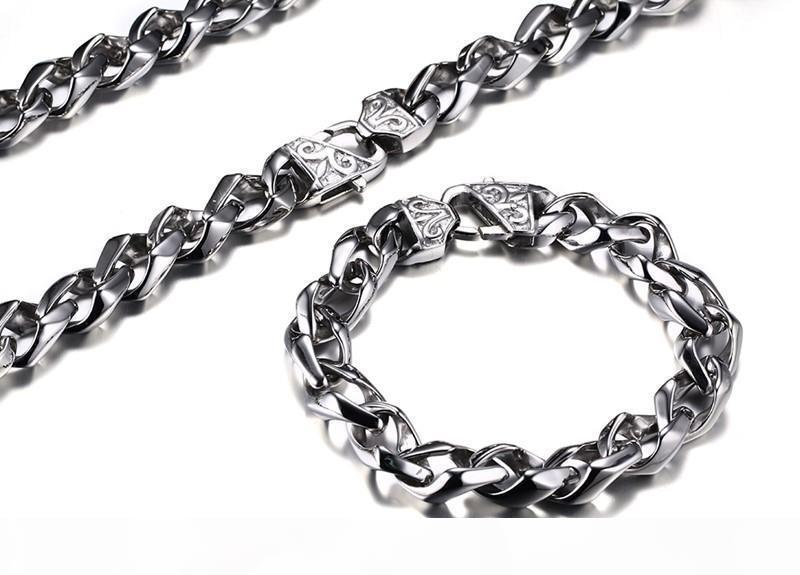 2016 Новый Преувеличены из нержавеющей стали высокого Полированный ожерелье браслет 2pcs витой Цепи ювелирные изделия Set Мужчины Punk браслет Мода Joyas