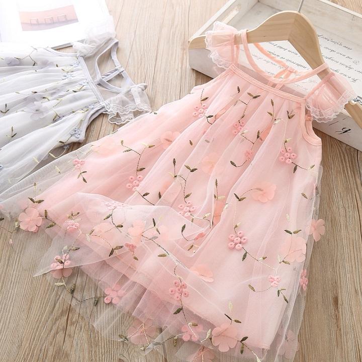 Kız Tasarımcı Elbise 2020 Yaz Moda Prenses Elbise Çocuk Trend Nefes Dantel Mesh Çiçek İşlemeli Elbiseler Çocuk Tasarımcı Giyim