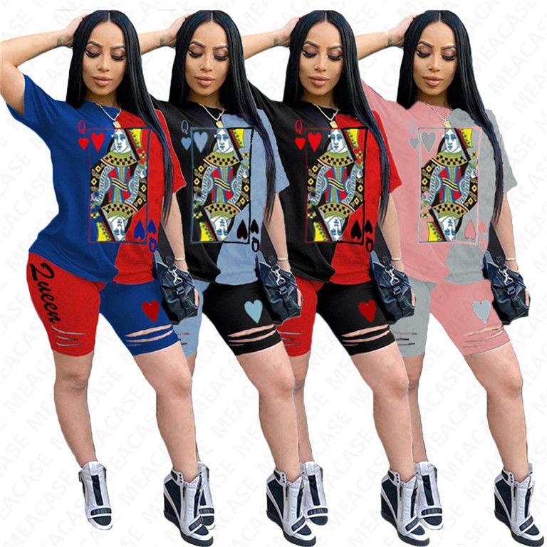 2020 Buracos dos desenhos animados roupa rasgada Shorts agasalho para as Mulheres Cor Patchwork 2 Piece Sportswear manga curta T-shirt e Shorts pano SetD7304