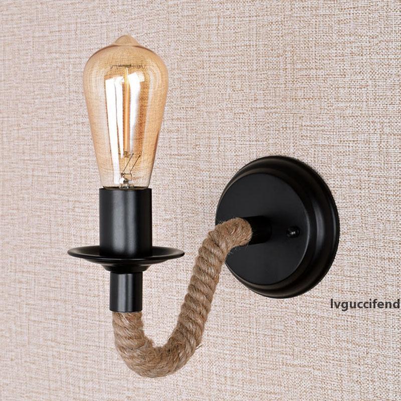 старинное настенного бра Перегородка лампа декомпрессионного настенной промышленных свечи Бра веревка anpro деревенский страна декор комната e27 homhi