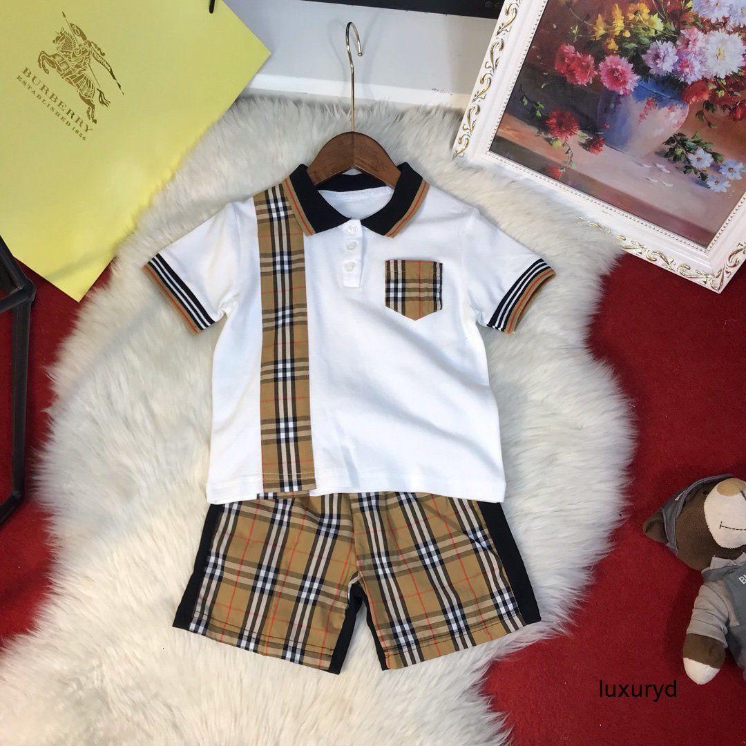 Solapa de traje de manga corta camiseta cortos chicos primavera de las niñas de la ropa del ocio de alta calidad de la moda