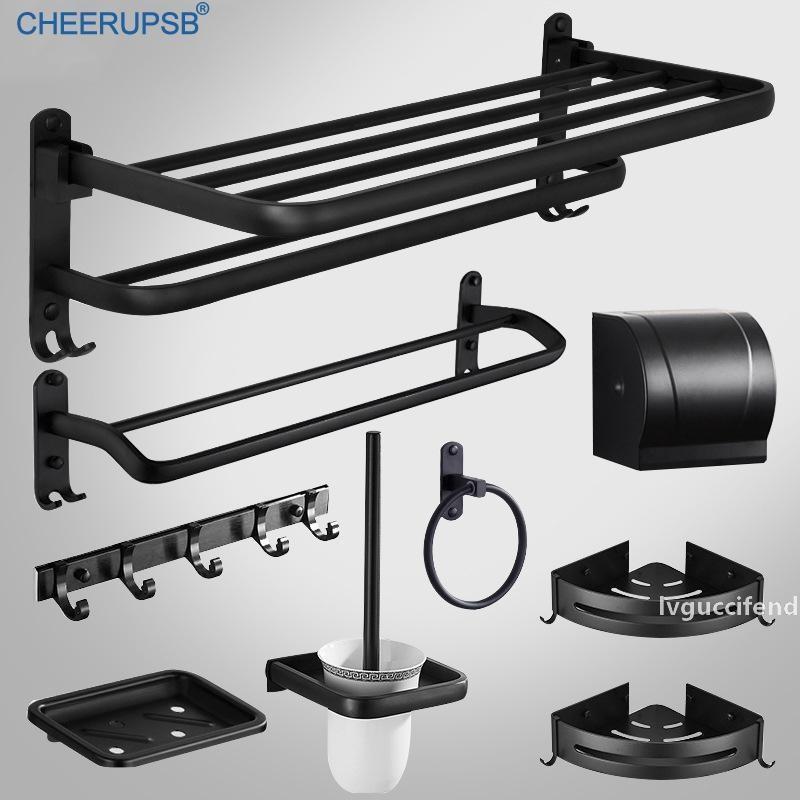Аксессуары для ванной комнаты Set Matte Black Оборудование для туалетной бумаги для полотенец Мыльница Space Алюминий Фен щетка для унитаза Rack Kit Set T200425