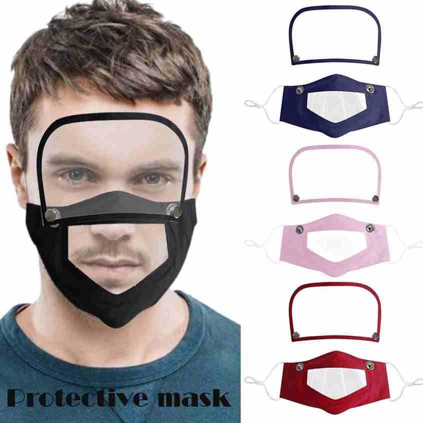 Visible Mouth Face Cover Removable Eye Shield Anti Dust Reusable Washable Transparent Lip Language Mask Deaf Mute Face Mask CYZ2522 200Pcs
