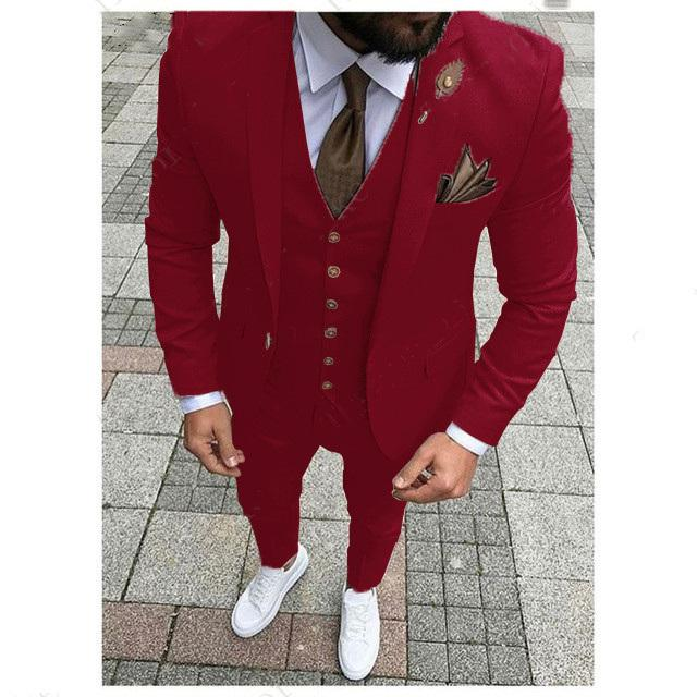 Handsome One Button Groomsmen Notch Lapel Groom Tuxedos Men Suits Wedding/Prom/Dinner Best Man Blazer(Jacket+Pants+Tie+Vest) W236