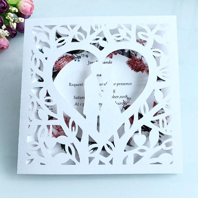 10pcs romantico Laser Cut Wedding Invitation Card sposo Sposa Carved pattern scava fuori banchetti per feste H55E