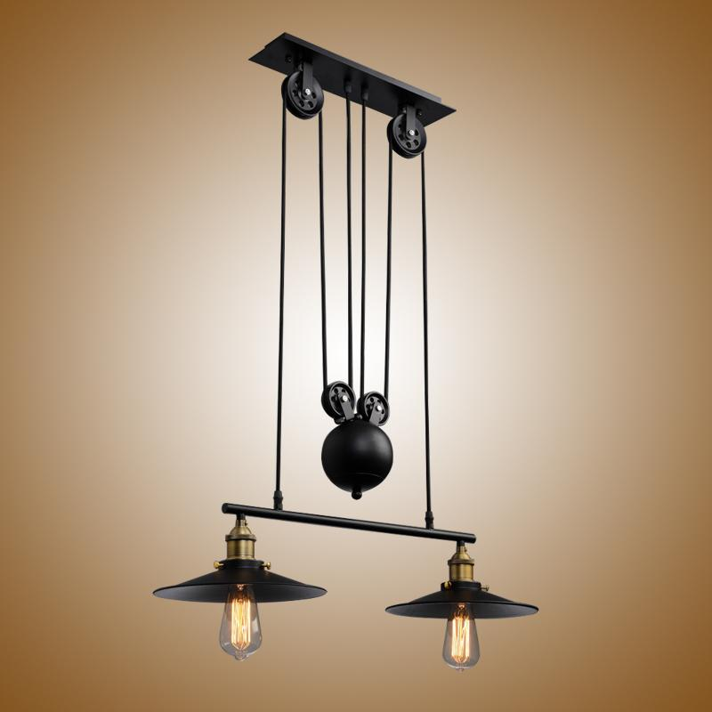 Vintage Edison Industrial Pulley Pendant Light Home Living Room Dining Room Bedroom Adjustable Wire Lamp PA0355