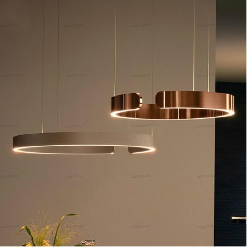 Luxo Anel de Ouro Pingente Luz LED Suspensão Plume Lâmpada Moderna Replica Design Circle Circle HangLamp Suspensão Luminária