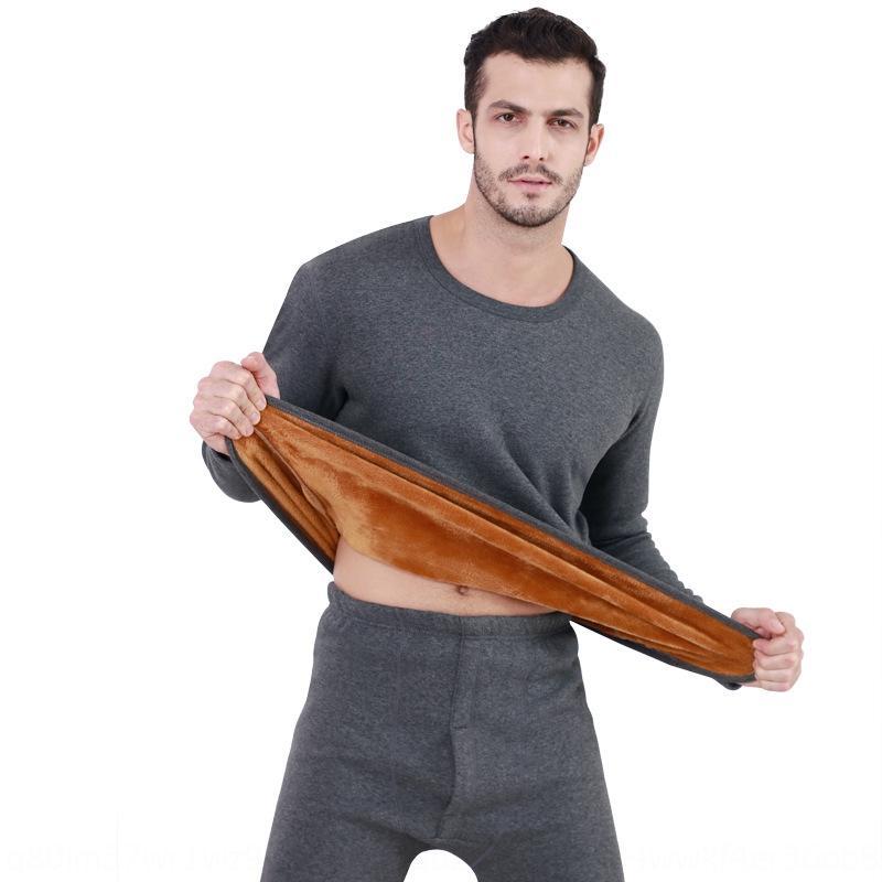 conjunto de ropa interior ropa interior de algodón puro de terciopelo de los hombres de los nuevos N5dlL otoño e invierno los hombres térmica térmica engrosada