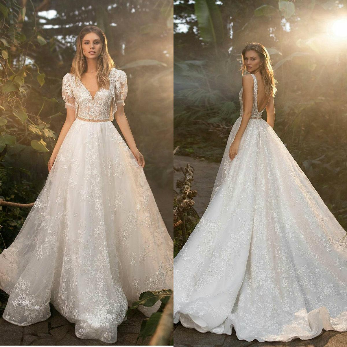 Beach Wedding Dresses Half Sleeves A Line Bridal Princess Gowns Plus Size 4 6 8 10 12 14 16 18 20 22 24