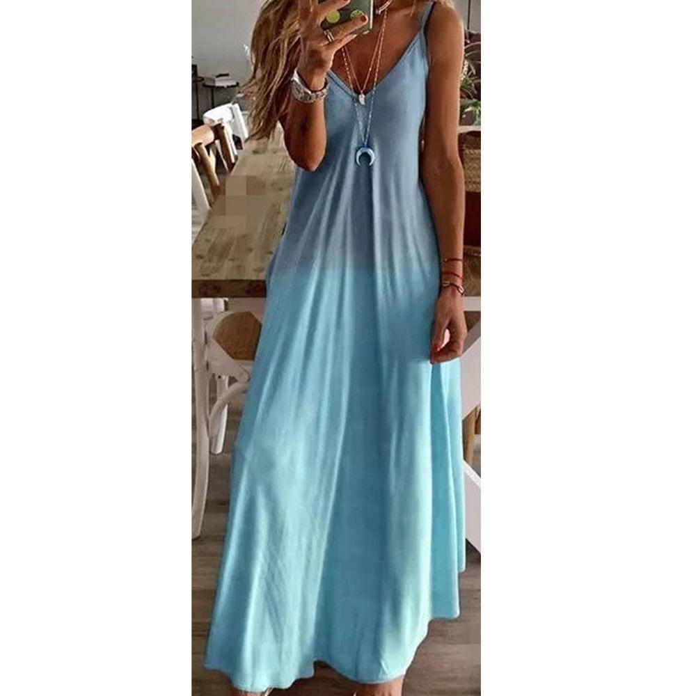 뜨거운 판매 섹시 슬림 디자이너 여성 드레스 그라데이션 컬러 편지 슬링 캐주얼 민소매 V 넥 패션 Womens 여름 드레스