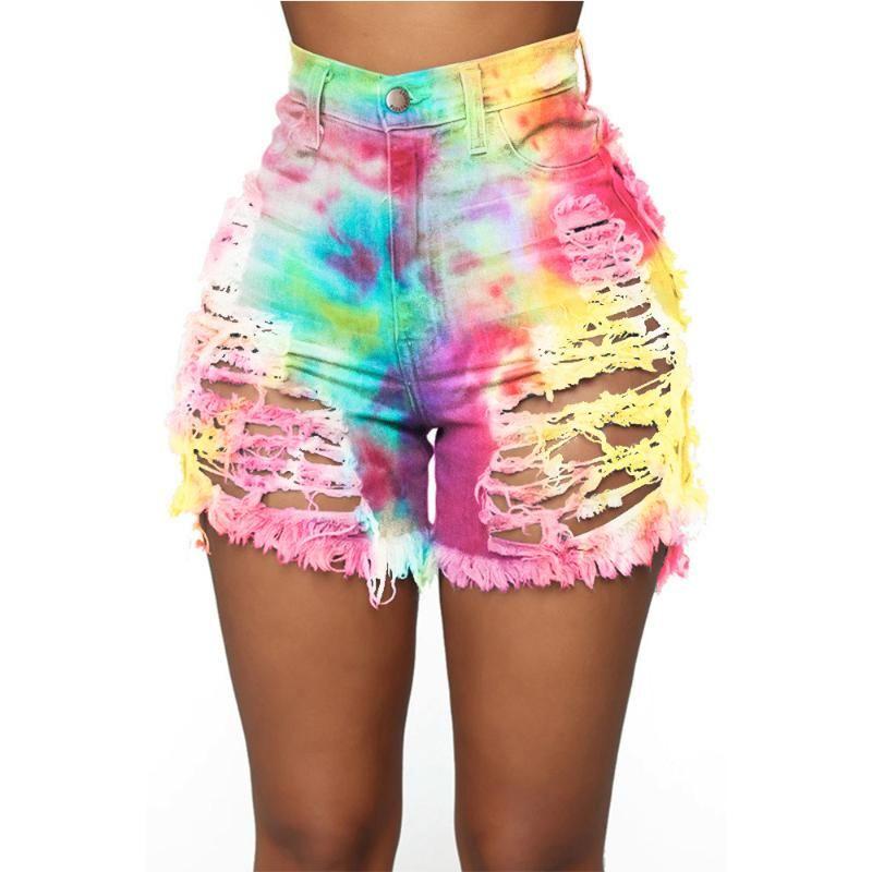 Lamentando las mujeres pantalones cortos de mezclilla Tie Dye vaqueros del agujero de 4 colores Hight cintura Femme flaco delgado más botones arriba cortocircuitos a pantalones