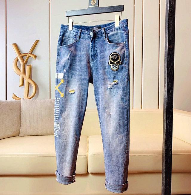 Moda Erkek Biker Jeans Deri Patchwork Slim Fit Siyah Moto Denim Koşucular için Erkek Sıkıntılı Kot Pantolon Ripped ~~ # SA134