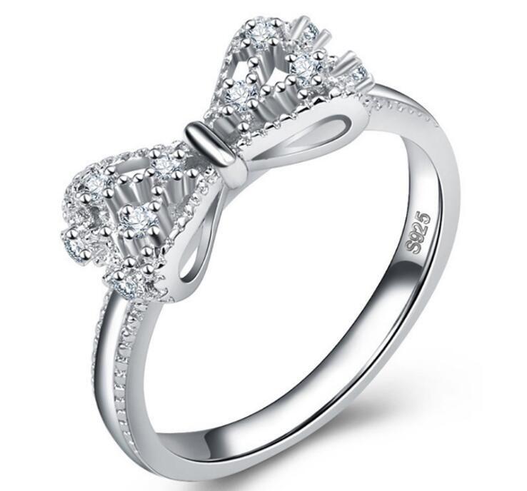 2020 nueva moda tamaño del anillo de bodas de plata Accesorios mosaico del diamante anillo de arco de cristal de plata S925 de alta calidad US6-10