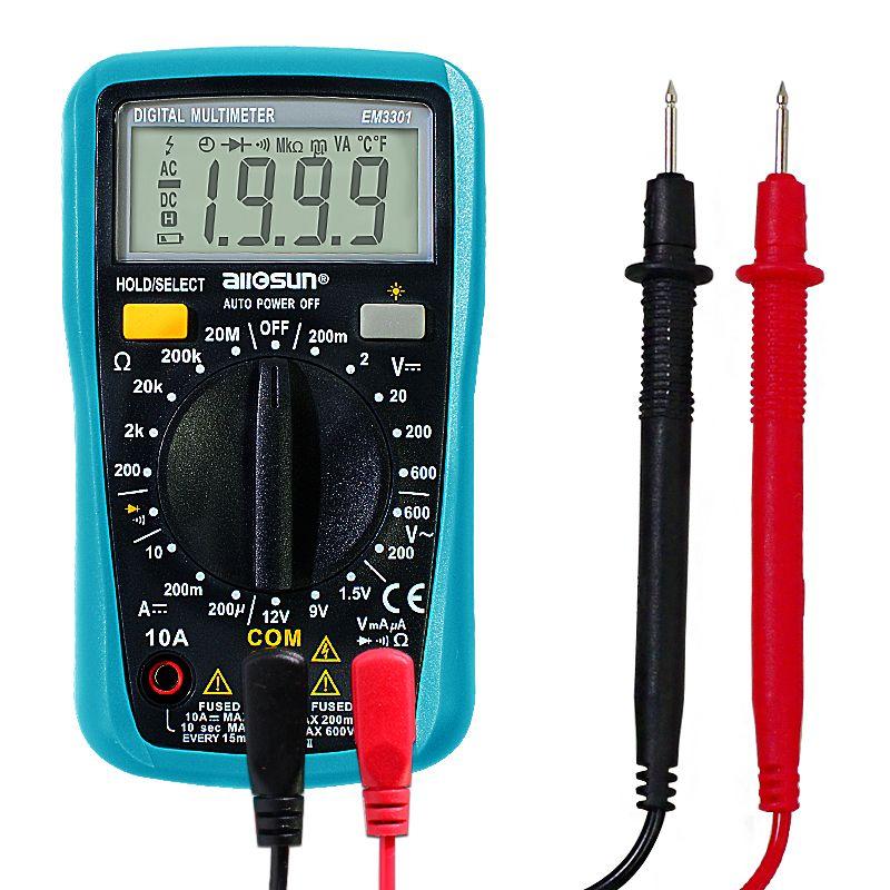 كل الشمس 2019 EM3301 / EM3302 رقمي متعدد جيب AC المحمولة / DC التيار الكهربائي الجهد تستر أوم أوم الحالي مع الخلفية