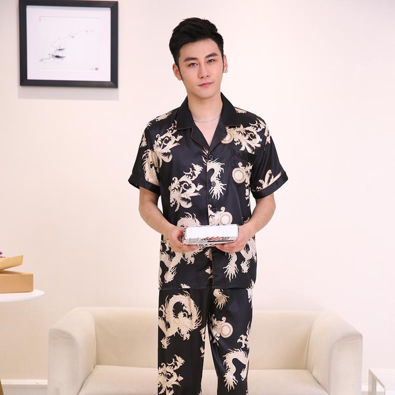 Yanman Novo Produto de simulação de seda Simulação Calças pijamas dragão impressão pijama dos homens de manga curta calças casa terno retas