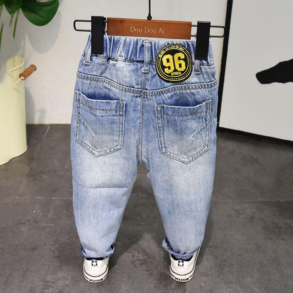 Wdl4b Ragazzi Jeans Primavera Casual slip Jeans e lettera ricamata bambino diritto casuale dei pantaloni dei pantaloni alla moda dei bambini di stile di autunno dei bambini