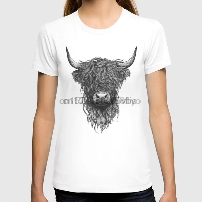 المرتفعات البقرة طباعة شارع الأزياء القمصان مضحك المرتفعات البقرة طباعة قصيرة الأكمام تي شيرت