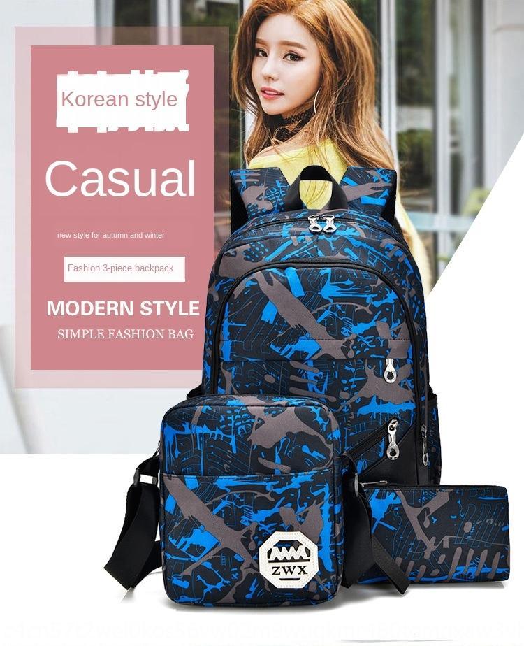 2019 Nuovo allievo di moda zaino borsa borsa uomo versatile zaino diagonale portatile di grande capacità a tre pezzi delle donne