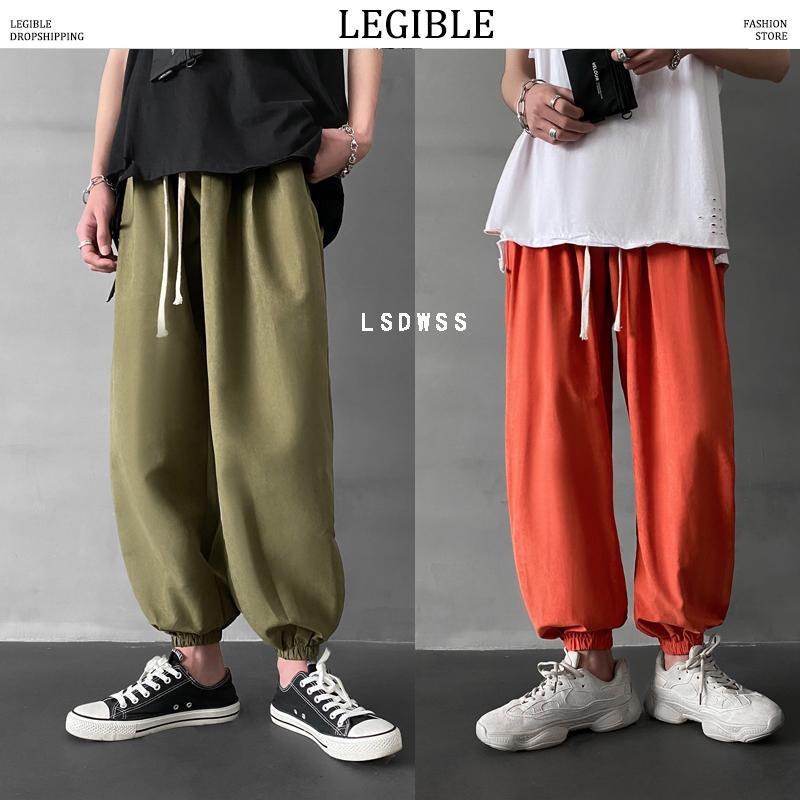 Okunaklı Man Yaz 2020 Moda Gevşek Ayak bileği uzunlukta pantolon Mans Hip Hop Büyük Beden Pantolon Erkek Kadın Oversize Kore Koşucular
