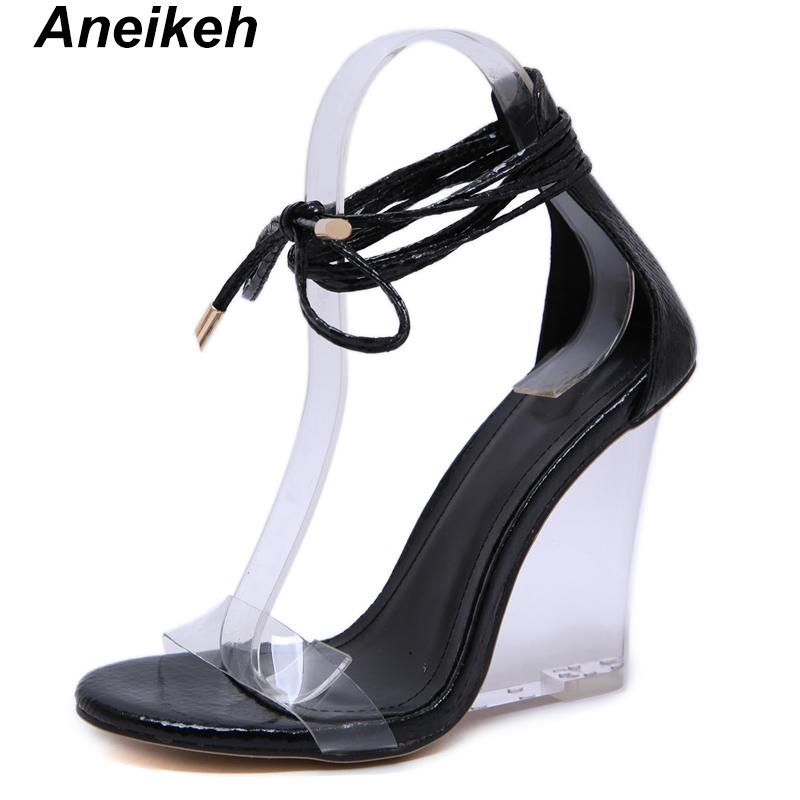 Aneikeh 2019 Fashion Women Shoes Peep Toe PVC transparente salto saltos Cunhas alta Sandals Summes Cruz Strap Lace-Up Bombas CX200715