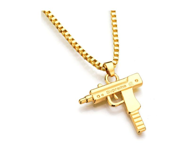Joyería de Hip Hop Carta pistola de oro collar de plata Largo Color Cadena ps0619 collares pendientes de Hip Hop para los hombres regalo de las mujeres
