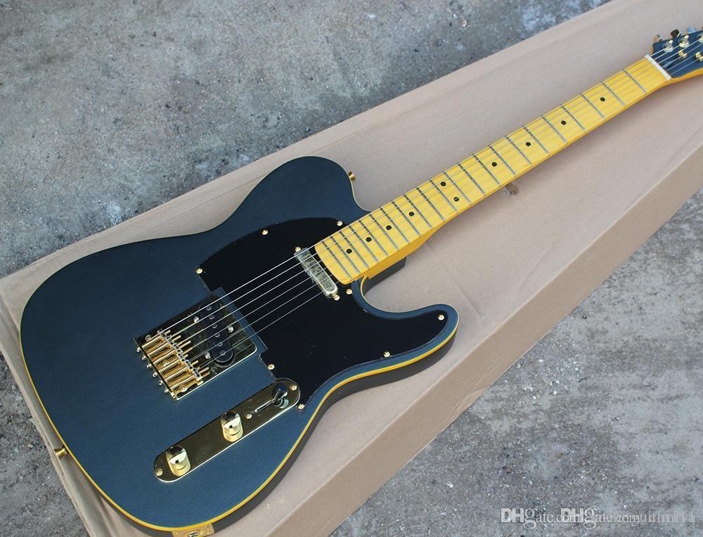 Preto Fosco Guitarra Elétrica com Maple Amarelo, Amarelo Ligação, pickguard Preto, Ouro hardwares, personalizada Serviços oferta
