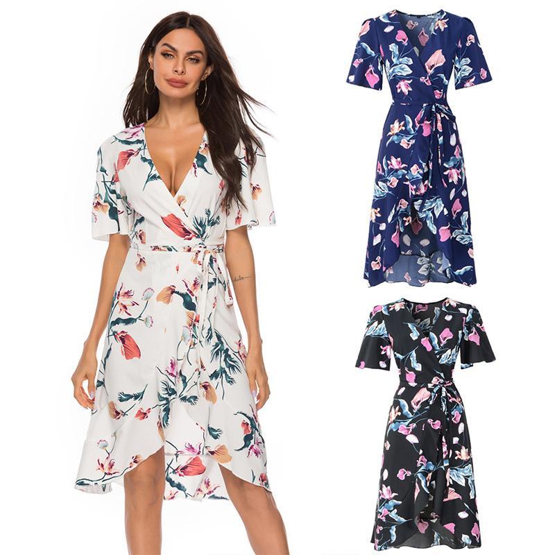 Floral Print Beach Cover Up Chiffon Swimwear Cover Beachwear Bikini Beach Dress 2020 Ruffled Tunic Dress Bathing Suit Cover-Ups