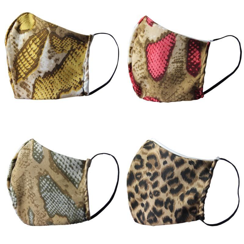 Leopard Serpentine Mode Masques Visage Coton respirateurs réutilisables Serpent spot Skins Smogproof MASCARILLA Washable plein air Sports Imprimer 4DJ C2