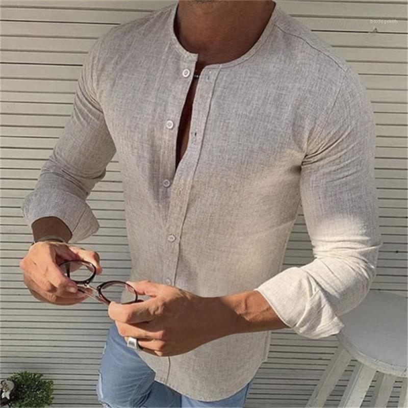 Regular Length Shirt Man Stand Collar Shirt Spring Mens Designer Solid Color Single Breasted Shirts Mens Long Sleeve