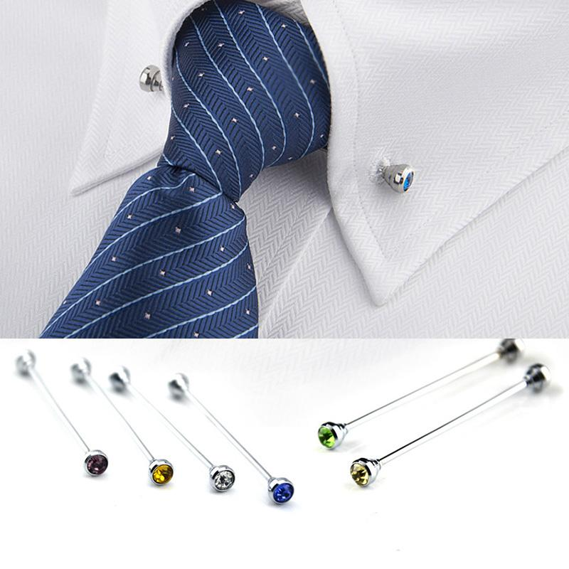 crystal tie collar bar Mens Shirt Collar Pin Necktie Tie Clip Clasp Brooch Bar Barbell Lapel Stick Collars buckle drop ship