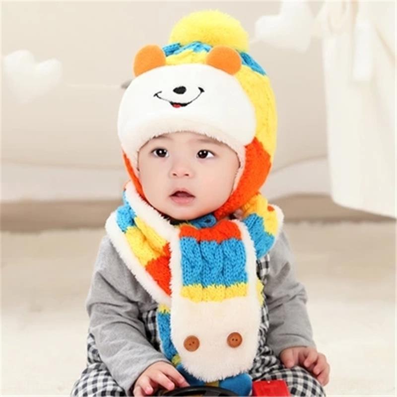 NVRzW automne style coréen et chapeau d'hiver pull-over bonnet chaud écharpe pour enfants bébé garçons de deux pièces ensemble laine tricotés chapeau chaud oreille protection pu