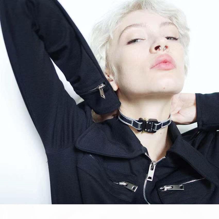 2019 1017 ALYX ESTUDIO logotipo de metal collar de cadena Torques mujeres de los hombres de Hip Hop de la calle al aire libre Accesorios regalo del festival del envío gratis