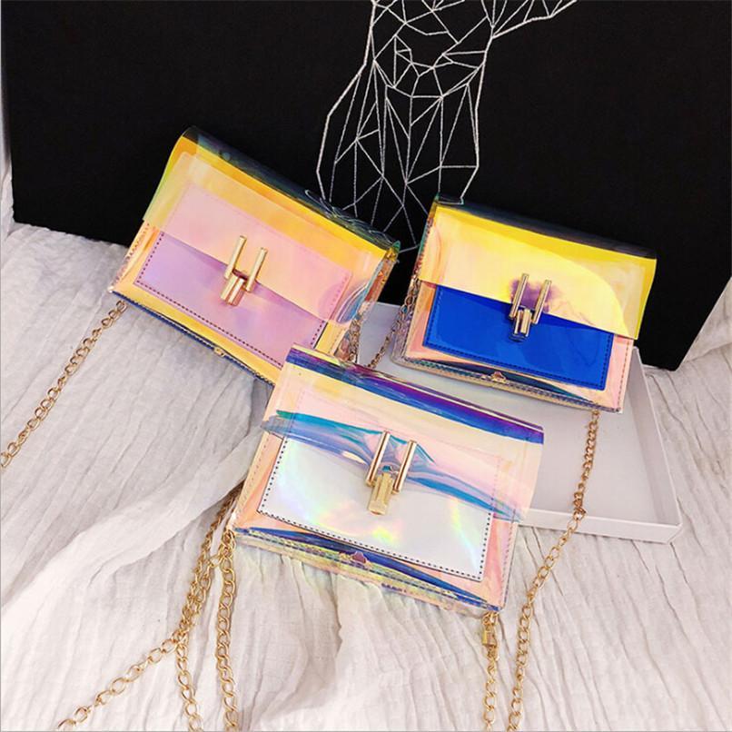 Kadınlar Şeffaf Çanta Temizle PVC Jelly Küçük Bez Messenger Çanta Lazer Holografik Omuz Çantaları Kadın Lady