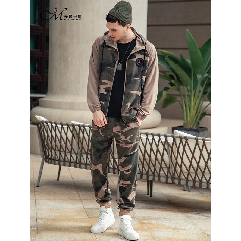 Palestre Tuta esterna uomini Set nuovo modo manica lunga con cappuccio Camouflage Set maschio vestito di sport degli uomini è adatto casual sportivo