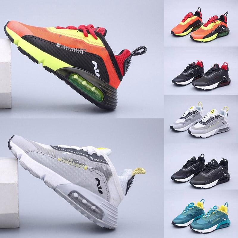 2090 Pure Platinum Kids Girls Running Shoes Baby Boy Sneakers Wolf Grey Bred Triple Black 2090s Childrens Trainer Sports des chaussures