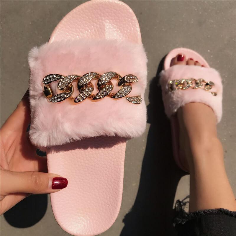 Litthing Kürk Slaytlar için Kadınlar Yaz Flats Bayanlar Terlik Bling Rhinestone Ayaklı Ev Açık Kış Casual Ayakkabı Isınma Floplar