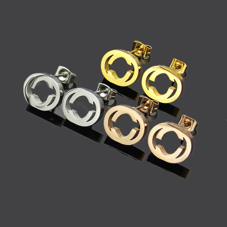 مجوهرات أعلى جودة بسيط أقراط ذهبية اللون الفولاذ المقاوم للصدأ لؤلؤة G حلق ذهب فضة الأذن ترصيع للحصول على حفل زفاف المرأة