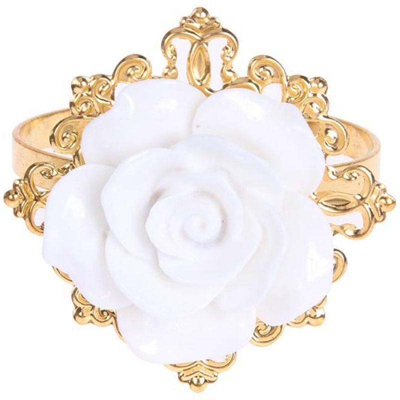 12pcs / Set Rose de la resina blanca servilleta de mesa de la cocina Anillo servilleta titular para el partido banquete de la boda Cena Decoración de oro