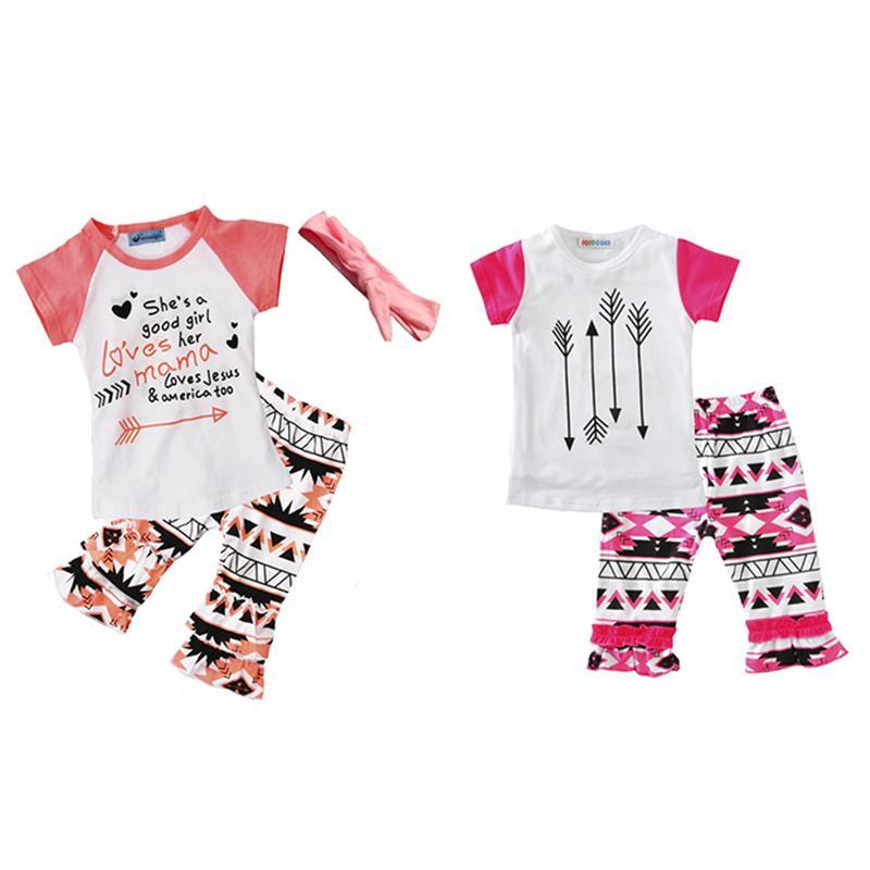 Girls Casual Vêtements Ensembles Lettres Géométrie Figure Print Fleur Fashion Costumes Enfant Outfits Enfants Tops Shorts Bandeau de poils 1-5T LG2017