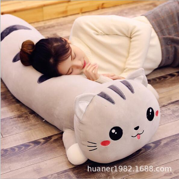 Super gato de pelúcia macia travesseiro bonito grande dormir longa travesseiro gatinho boneca para baixo algodão recheadas MX200716 frete grátis