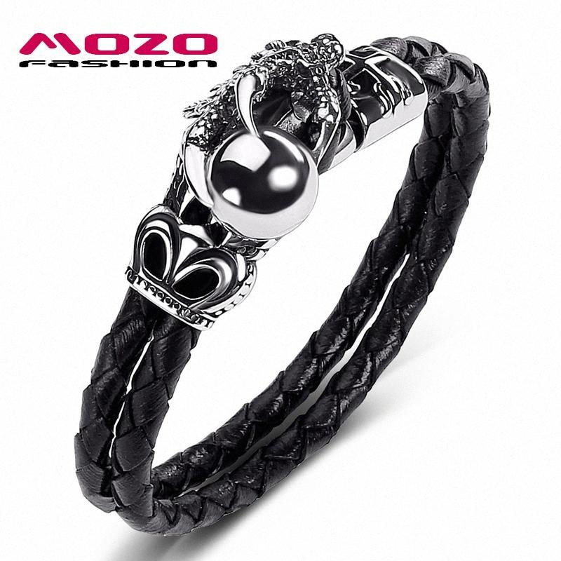 Pulsera de la manera hombres MOZO joyería Negro cuero auténtico acero inoxidable del dragón bolas de plata de la garra del punk encanto de la pulsera de las mujeres 515 1xjK #