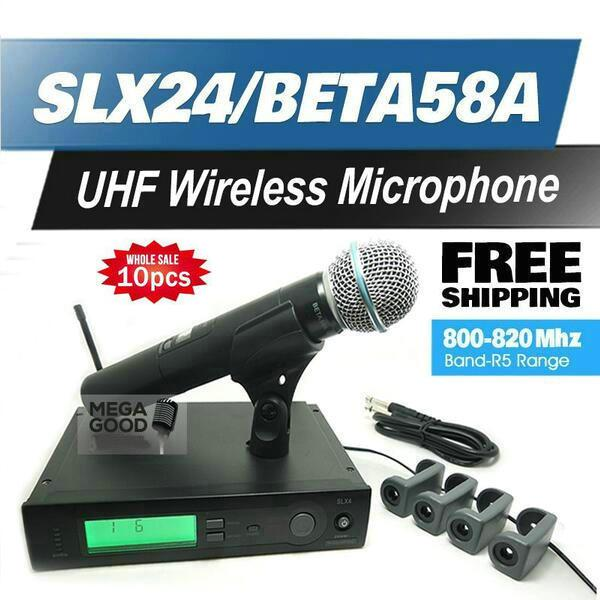 Wireless System Karaoke 10pcs radio di controllo Mikrafon professionale UHF metallo microfoni SLX24 / BETA58 alta qualità SLX senza fili 58A palmare