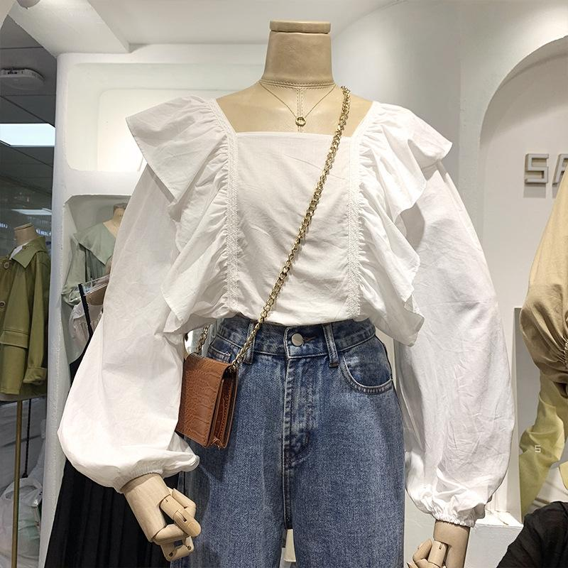 Гофрированные квадратный воротник фонарь с длинным рукавом твердого Top цвета рубашка для женщин 2020 Весна новых корейского стиля элегантной ниши рубашки верхних