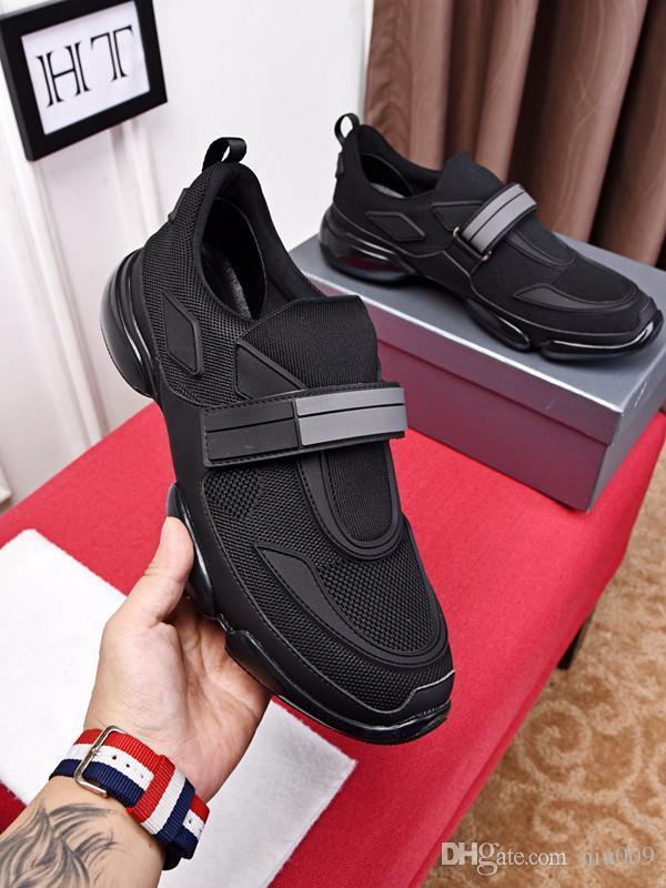 2019 Calçados dos homens New Leve tecidos masculinos Sports respirável Casual Aumentar Meias Sapatos alta para ajudar Correndo Sports Shoes ht190127